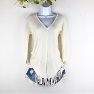 Acrobat Cream Fringe Vneck Tunic Knit Sweater Wool